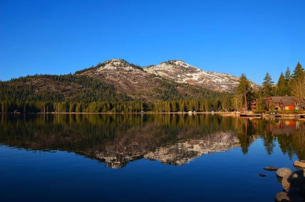 Photograph - Donner Lake Cabin Reflection by Marilyn MacCrakin