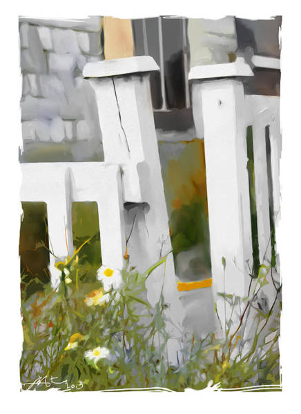 White Picket Fence Painting - Don't Pick The Daisies by Bob Salo