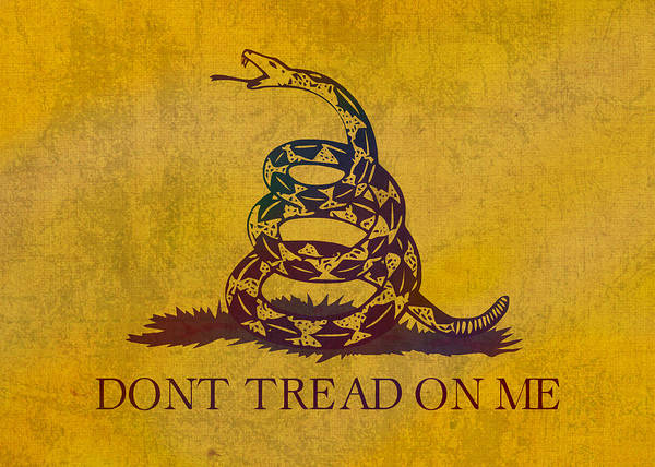 Wall Art - Mixed Media - Don't Tread On Me Gadsden Flag Patriotic Emblem On Worn Distressed Yellowed Parchment by Design Turnpike