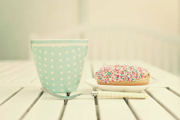 Mug Photograph - Donuts And Coffee Mug by Andrea Kamal