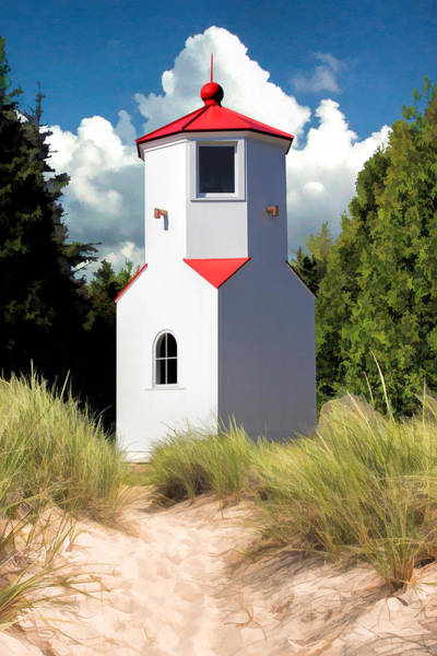 Painting - Door County Baileys Harbor Lower Range Lighthouse by Christopher Arndt
