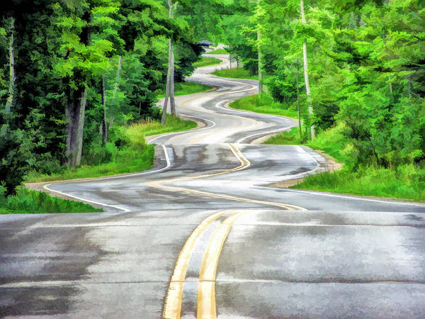 Painting - Door County Curvy Road To Northport Along Highway 42 by Christopher Arndt