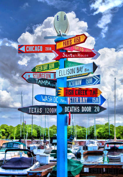 Wisconsin Wall Art - Painting - Door County Directional Sign In Egg Harbor by Christopher Arndt