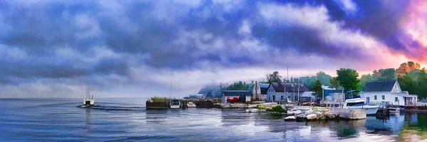 Fishing Boat Painting - Door County Gills Rock Morning Catch Panorama by Christopher Arndt