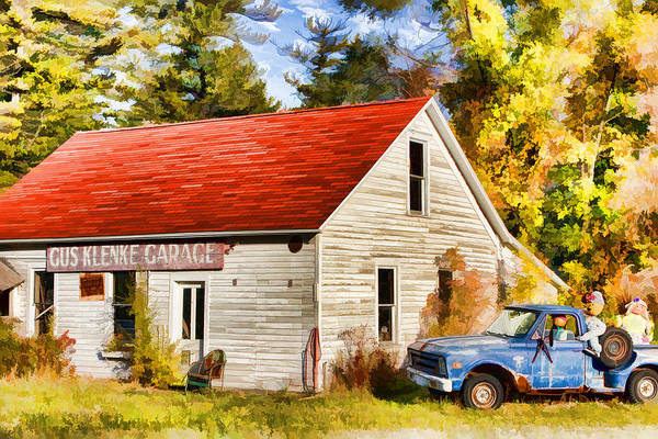 Gus Wall Art - Painting - Door County Gus Klenke Garage by Christopher Arndt