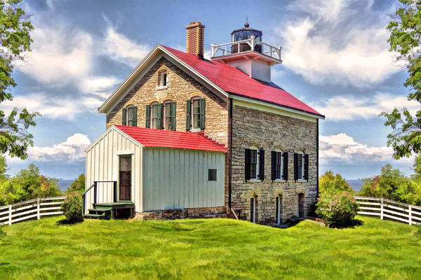 Painting - Door County Pottawatomie Lighthouse Rock Island by Christopher Arndt