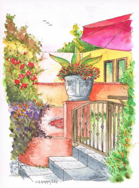 Acuarela Painting - Door With A Flower Pot In Venice Beach - California by Carlos G Groppa