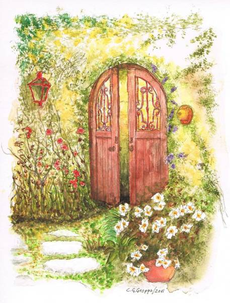 Acuarela Painting - Door With A Lantern by Carlos G Groppa