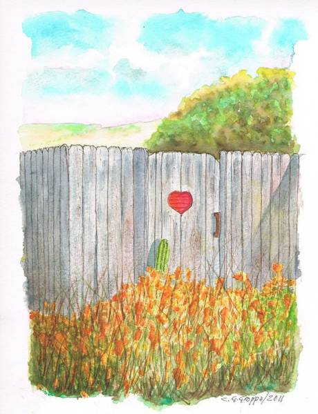 Acuarela Painting - Door With Heart In Lompoc - California by Carlos G Groppa