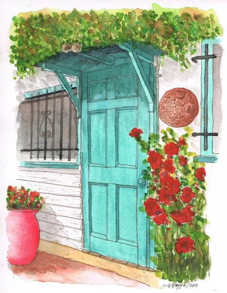 Acuarela Painting - Door With Roses In Melrose Ave - West Hollywood - California by Carlos G Groppa