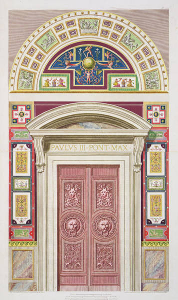 Renaissance Drawing - Doorway To The Raphael Loggia by G. & Camporesi, P. Savorelli