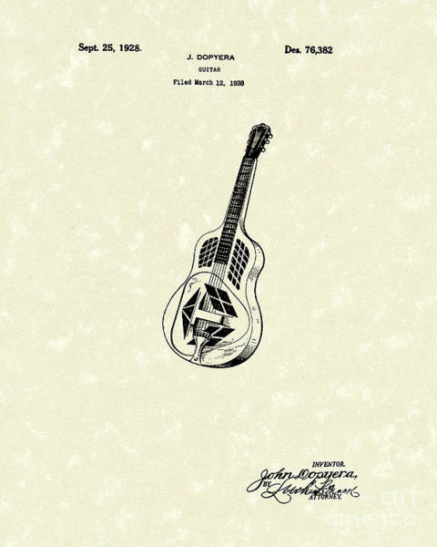 Drawing - Dopyera Guitar 1928 Patent Art by Prior Art Design