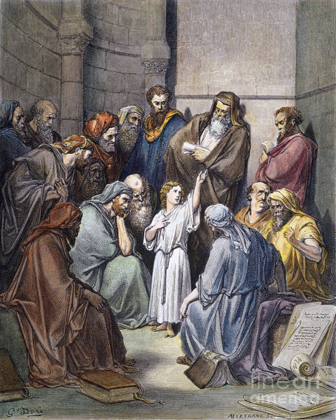 Wall Art - Drawing - Jesus With Doctors by Gustave Dore