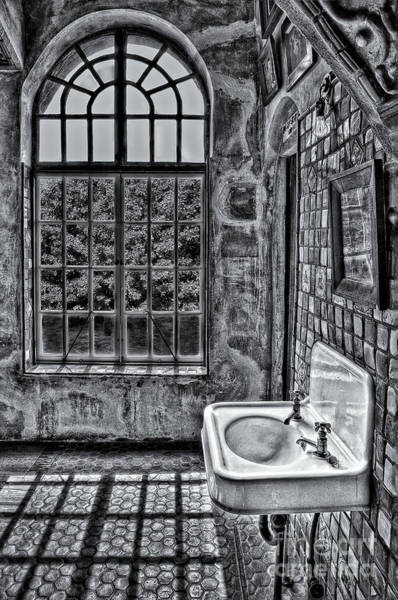 Photograph - Dormer Bathroom Side View Bw by Susan Candelario