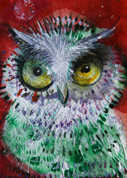 Bird Watercolor Mixed Media - Dot by Laurel Bahe