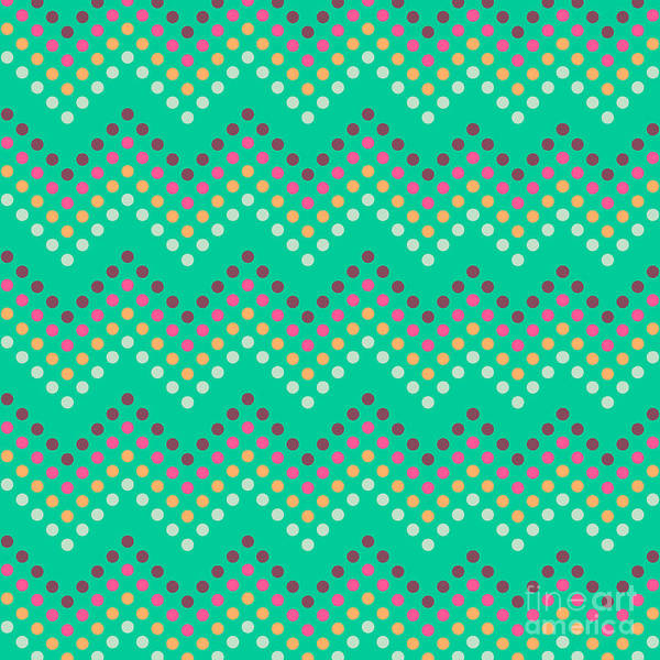 Stylish Wall Art - Digital Art - Dotted Lines Zigzag Pattern With by Hakki Arslan