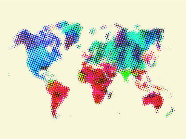 Wall Art - Painting - Dotted World Map 2 by Naxart Studio