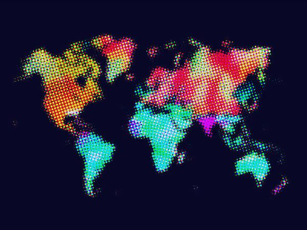 Wall Art - Painting - Dotted World Map 3 by Naxart Studio