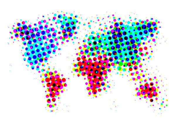 Wall Art - Painting - Dotted World Map 4 by Naxart Studio