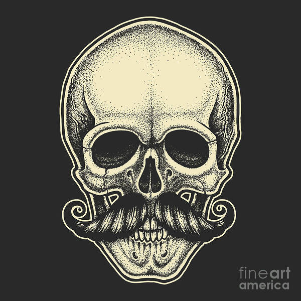 Dotwork Styled Skull With Moustache Art Print