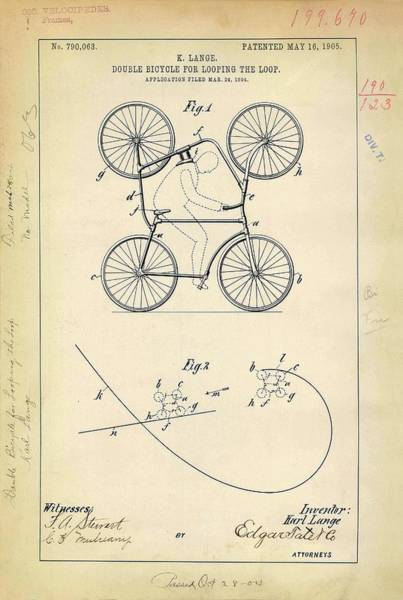 Double Bicycle Patent Art Print