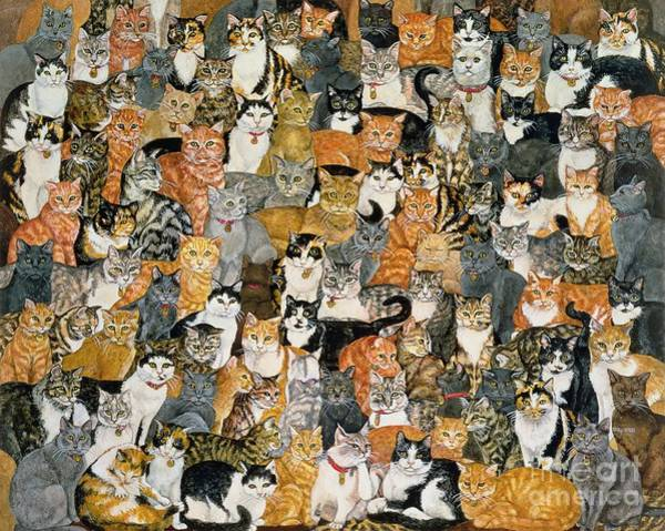 Kitty Painting - Double Cat Spread by Ditz