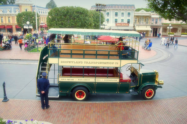 Clothier Photograph - Double Decker Bus Main Street Disneyland 02 by Thomas Woolworth