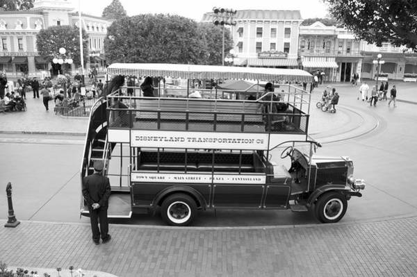 Clothier Photograph - Double Decker Bus Main Street Disneyland Bw by Thomas Woolworth