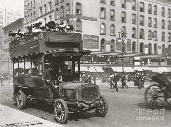 Autobus Photograph - Double-decker Bus, New York City, 1890s by Miriam And Ira D. Wallach Division Of Art, Prints And Photographs