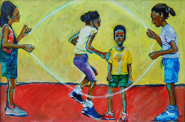 Skip Rope Painting - Double Dutch by Charles M Williams