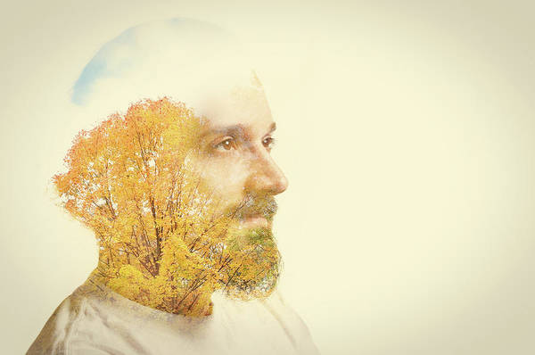 Buns Photograph - Double Exposure Man With Beard And Fall by Sdominick