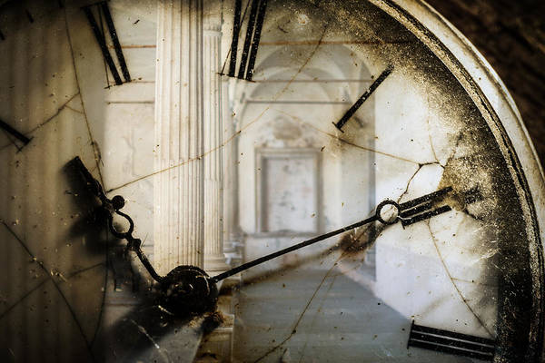 Double Exposure Of Antique Pocket Watch And Old Architecture Art Print by Ilbusca