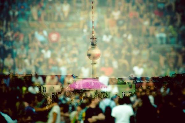 Double Exposure Of Crowd And Communications Tower Art Print by Thorsten Gast / EyeEm
