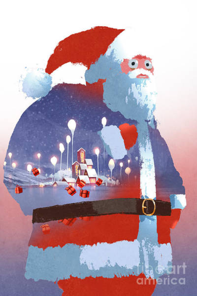 Snow Digital Art - Double Exposure Of Santa Claus And by Tithi Luadthong