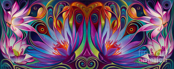 Peacocks Painting - Double Floral Fantasy by Ricardo Chavez-Mendez