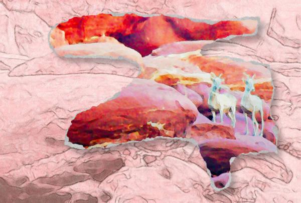 Digital Art - Double Mountain Goats by Alice Gipson