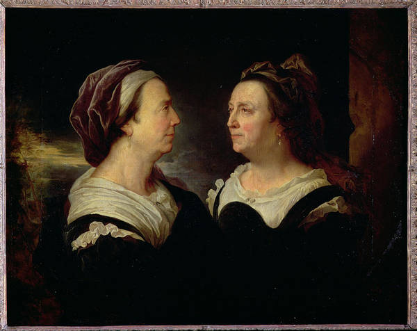 Middle Ages Photograph - Double Portrait Of Marie Serre, The Artists Mother, 1695 Oil On Canvas by Hyacinthe Francois Rigaud