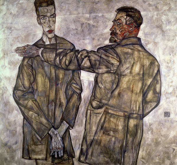 Expressionist Photograph - Double Portrait Of Otto And Heinrich Benesch by Egon Schiele