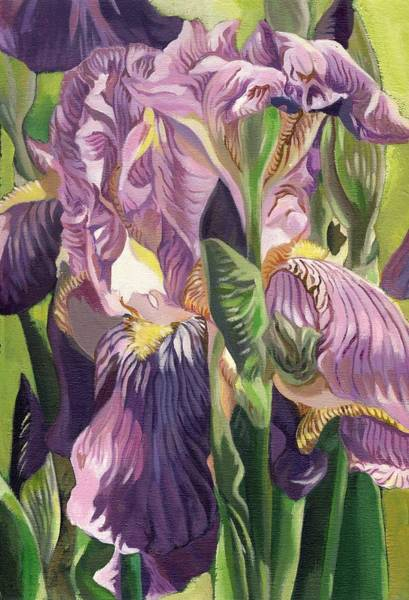 Painting - Double Purple Irises -painting by Alfred Ng