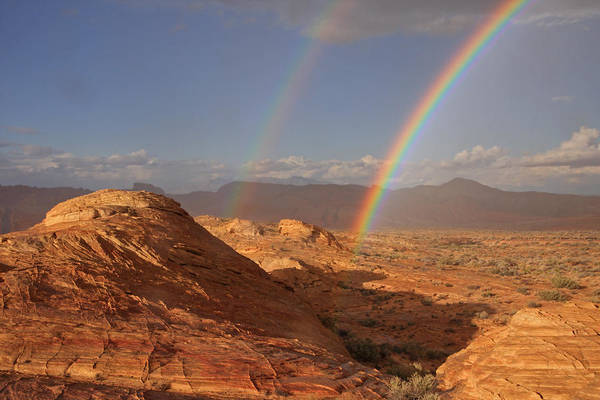 Photograph - Double Rainbow At The Valley Of Fire by Steve Wolfe