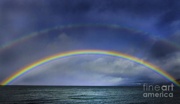 South Lake Tahoe Photograph - Double Rainbow Over Lake Tahoe by Mitch Shindelbower