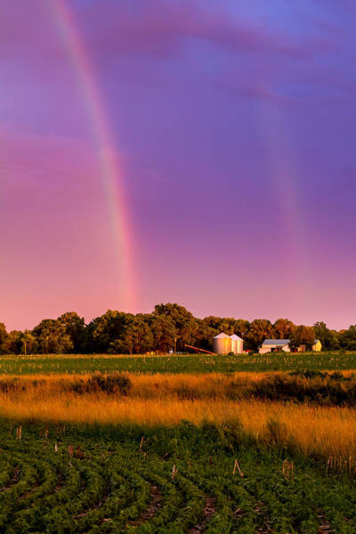 Photograph - Double Rainbow Over The Farm by Ron Pate