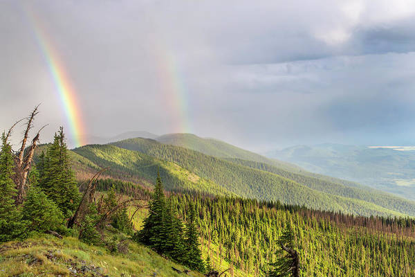 Stillwater Photograph - Double Rainbow Over The Whitefish Range by Chuck Haney