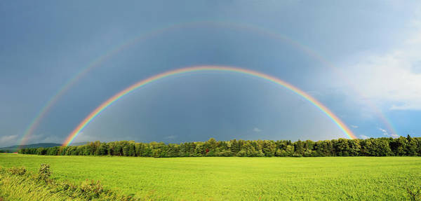 Paysage Photograph - Double Rainbow Over Trees And Lush by Yves Marcoux