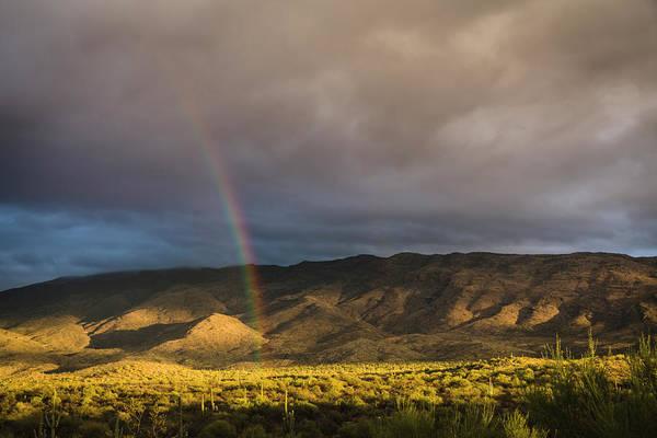 Storm Photograph - Double Rainbow, Saguaro National Park by David Madison