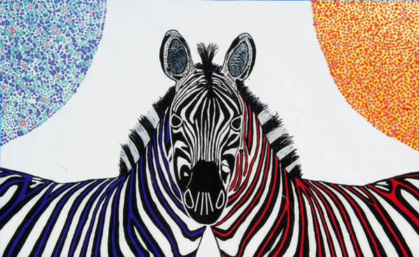 Wall Art - Painting - Double Zebra by Patrick OLeary