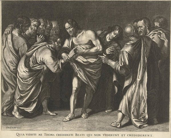 Wall Art - Drawing - Doubting Thomas Touching Christs Wound, Cornelis Van Dalen by Cornelis Van Dalen (i)