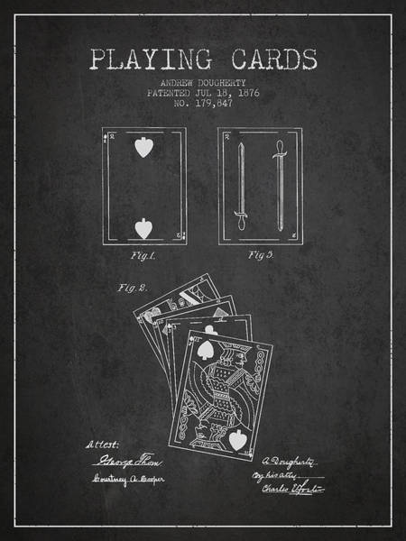 Playing Digital Art - Dougherty Playing Cards Patent Drawing From 1876 - Dark by Aged Pixel
