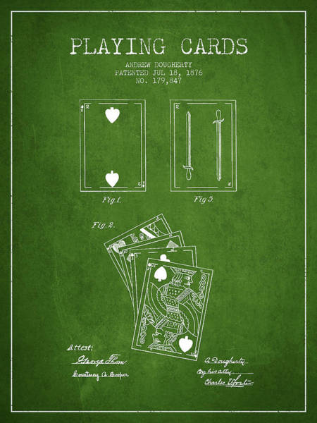 Playing Digital Art - Dougherty Playing Cards Patent Drawing From 1876 - Green by Aged Pixel