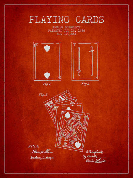 Playing Digital Art - Dougherty Playing Cards Patent Drawing From 1876 - Red by Aged Pixel